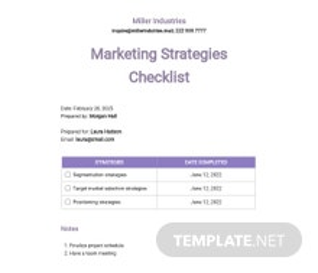 Possible Marketing Strategies Checklist Template