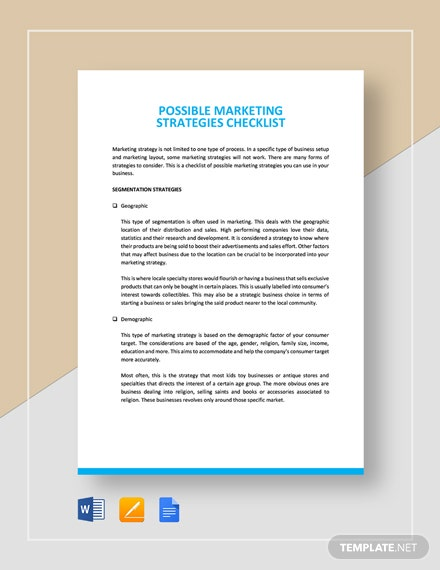 Possible Marketing Strategies Checklist Template