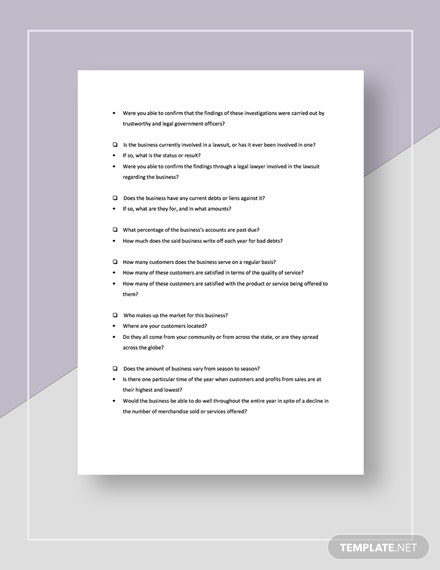 Checklist Evaluation to Buy a Business Template