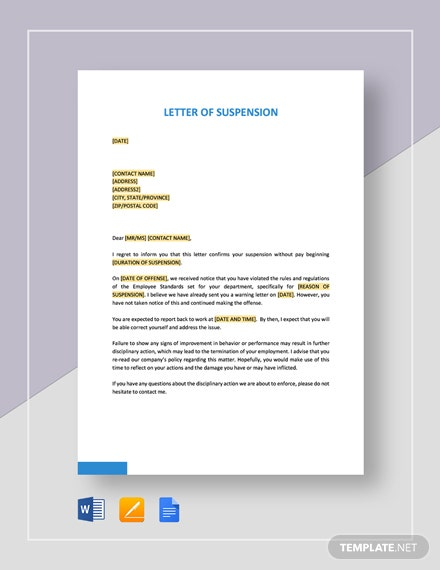 Letter-of-Suspension Google Docs Templates For Newsletters on newspaper article, mla format, book format, meeting minutes, business proposal,