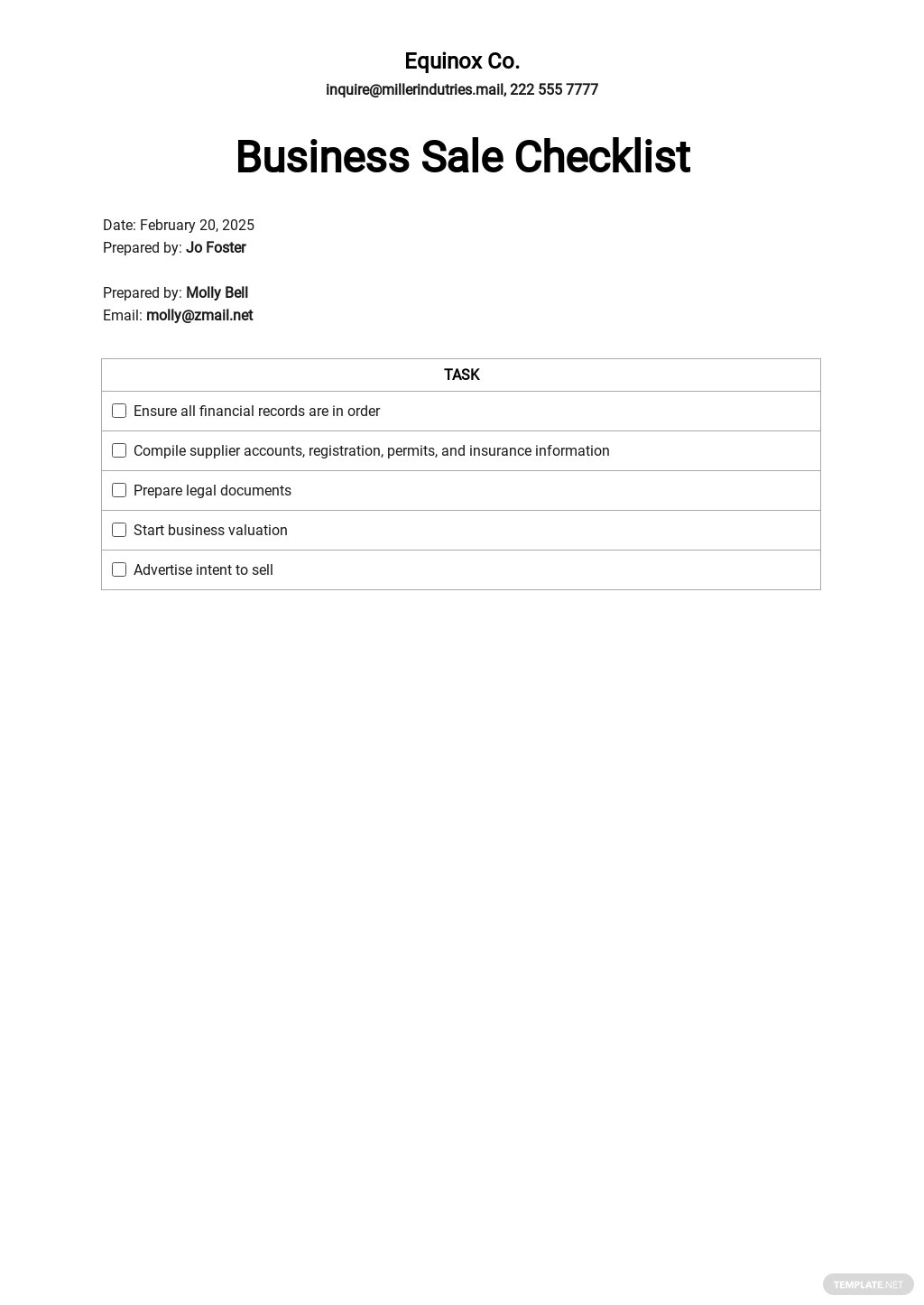 Checklist Sale of a Business Template.jpe