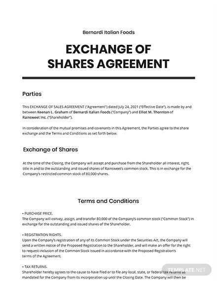 Exchange of Shares Agreement Template