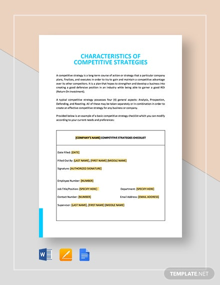 Characteristics of Competitive Strategies Template