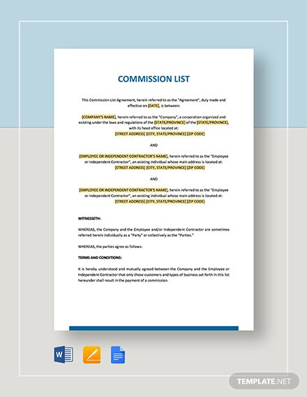 Commission List Template