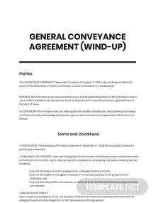 General Conveyance Agreement Wind-Up Template
