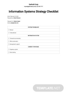 Checklist Possible Information Systems Strategies Template