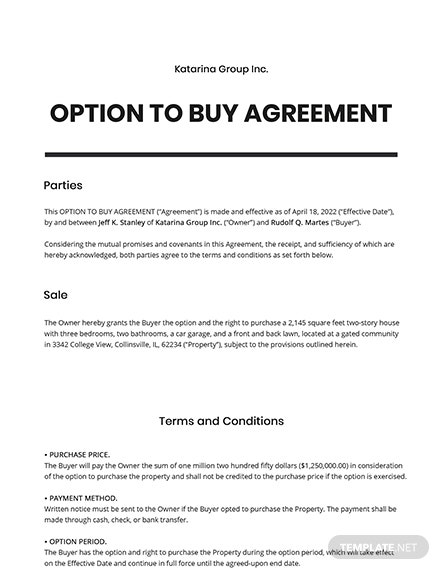 Option to Buy Agreement Template