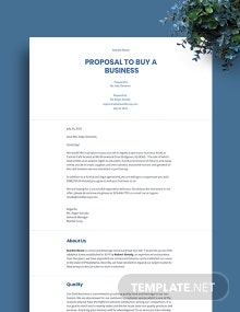 Proposal to Buy a Business Template