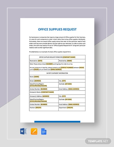 Office Supplies Request Template