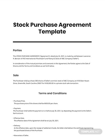 Stock Purchase Agreement Template