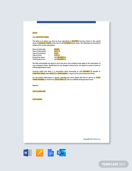 Letter Examples for a Subscription of Shares Template