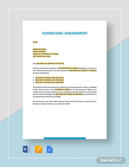 Addressing Harassment Template
