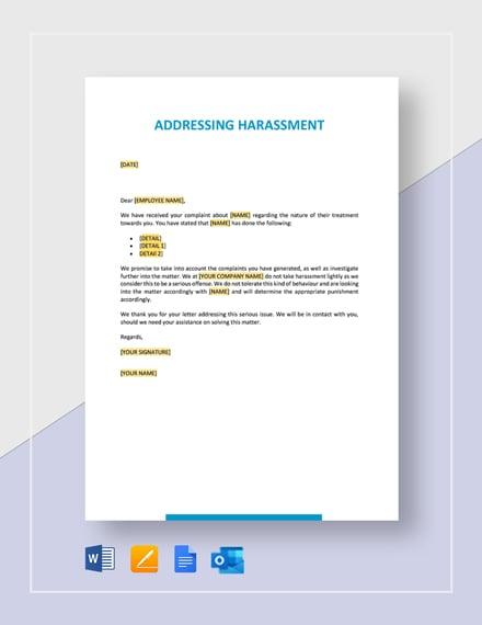 Addressing Harassment Template