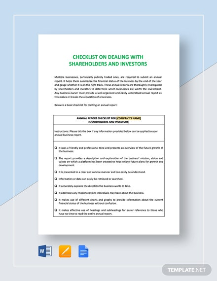 Checklist Dealing with Shareholders and Investors