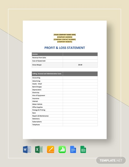 Profit & Loss Statement Template