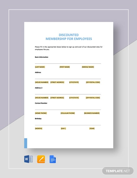 Discounted Membership for Employees Template