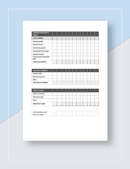Monthly Balance Sheet Template