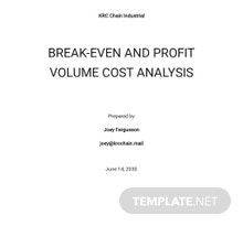 Break Even and Profit Volume Cost Analysis Template