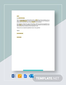 Letter Purchase Order Issued on Acceptance of Delivery Date Template