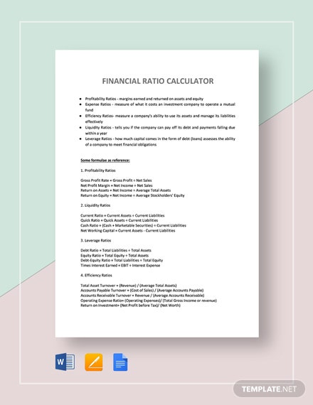 Financial Ratio Calculator Template