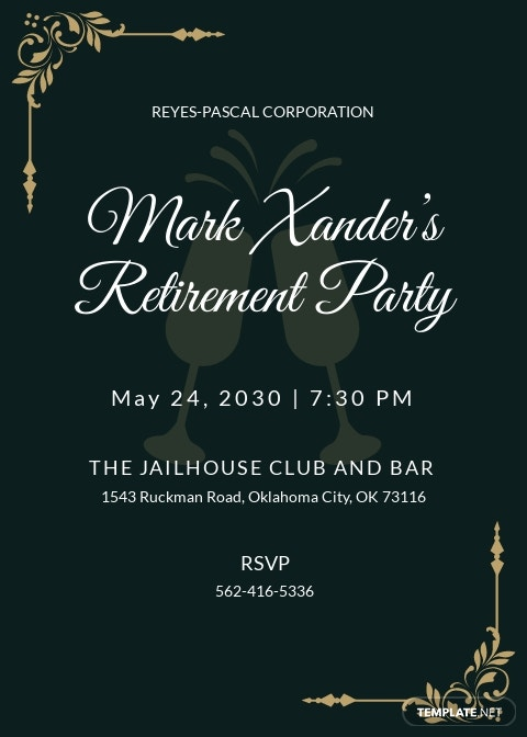 Retirement Party Invitation Guest Template