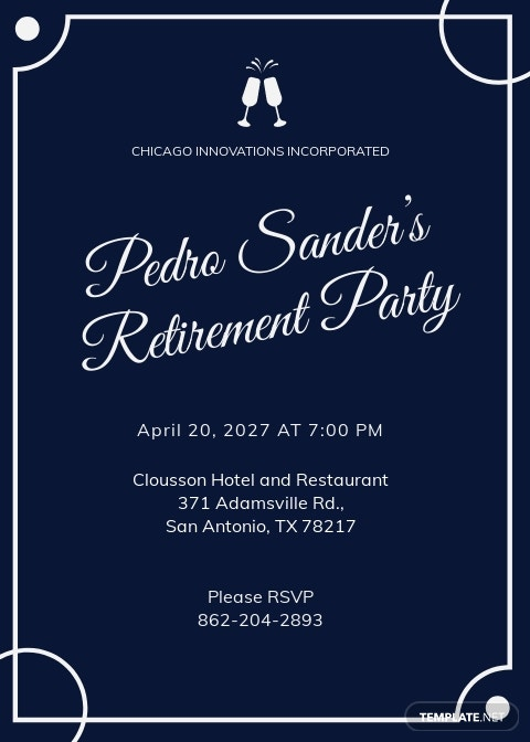 Retirement Party Invitation Internal Template