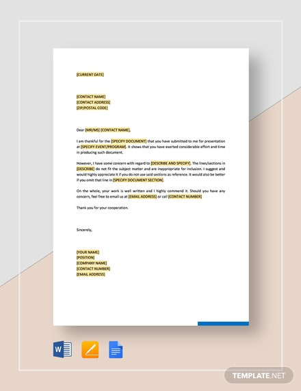 Thank You for Submission and Request for Revision Template