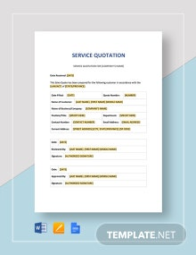 Service Quotation Template