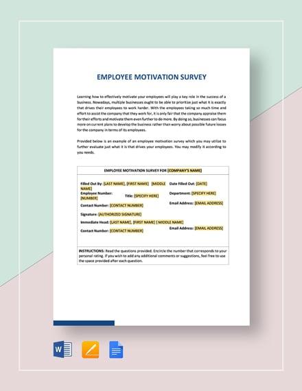 Motivation Survey Template
