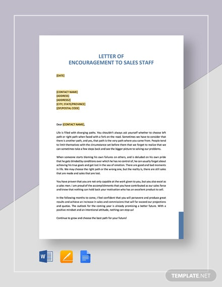 Letter of Encouragement to Sales Staff Template