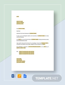 Certification Enclosing Financial Statements Template