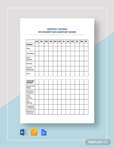 Income Statement Monthly Template