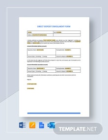 Direct Deposit Enrollment Form Template
