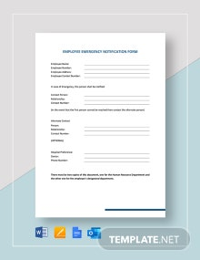Employee Emergency Notification Form Template