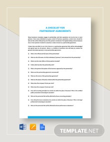 Checklist Partnership Agreement Template