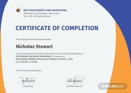 Free Completion Certificate Template in Adobe Photoshop ...