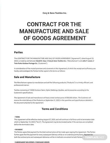 Contract for the Manufacture and Sale of Goods Template