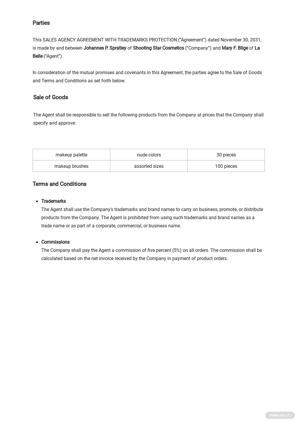 Sales Agency Agreement With Trademarks Protection Template 1.jpe