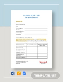 Payroll Deduction Authorization Template