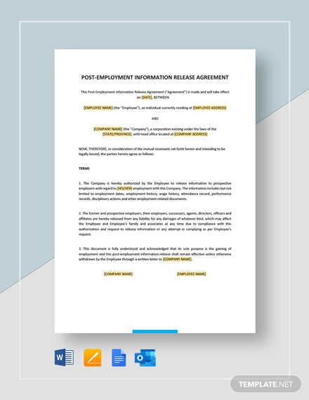 Post-Employment Information Release Agreement Template