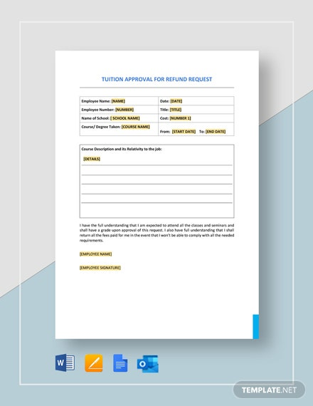 Tuition Approval for Refund Request Template
