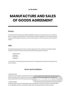 Manufacture and Sales of Goods Agreement Template