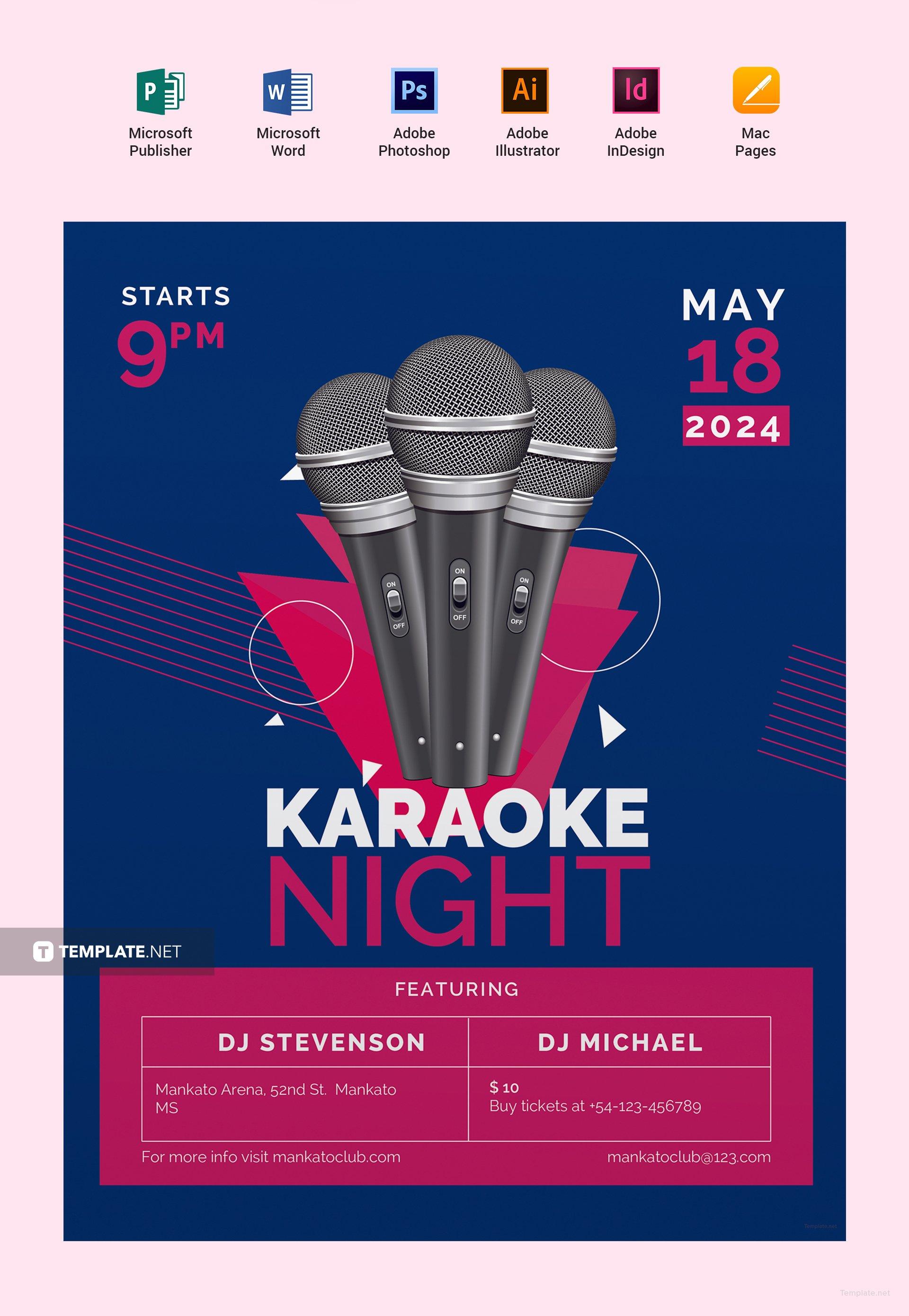 Karaoke Flyer Template Erkalnathandedecker