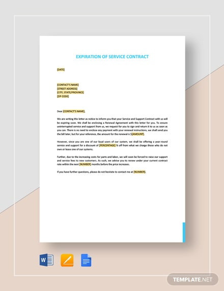 Expiration of Service Contract Template