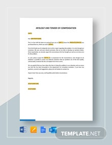 Apology and Tender of Compensation Template