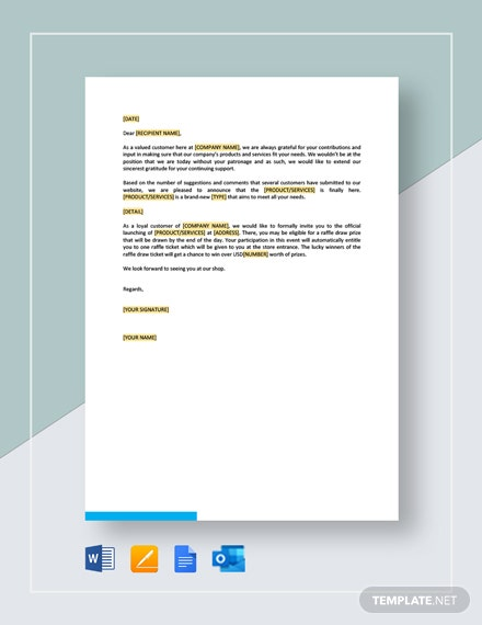 New Product Announcing Letter Template