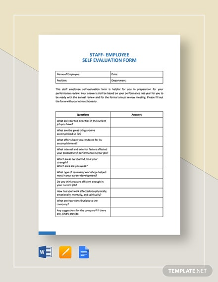 Staff Employee Self-Evaluation Template