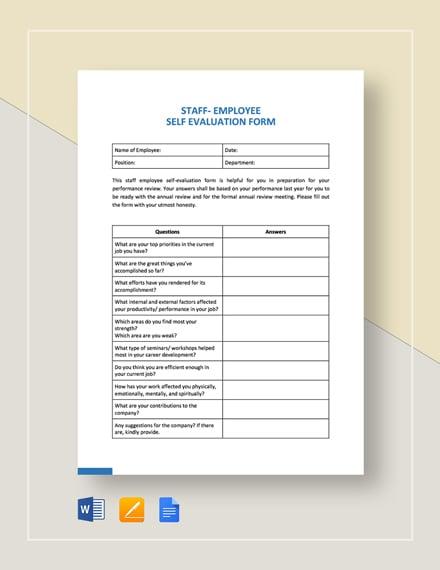 Staff Employee Self-Evaluation Template