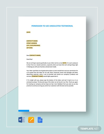 Permission to Use Unsolicited Testimonial Template