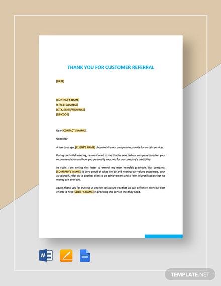 Thank You for Customer Referral Template